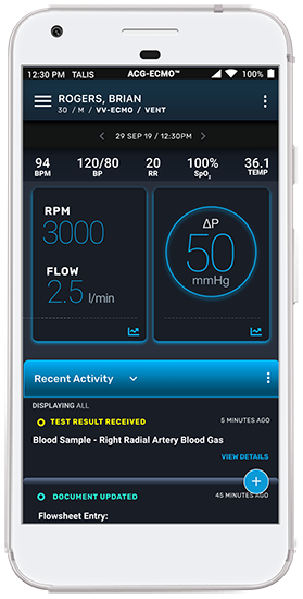 ACG-ECMO displays encounter page on smartphone