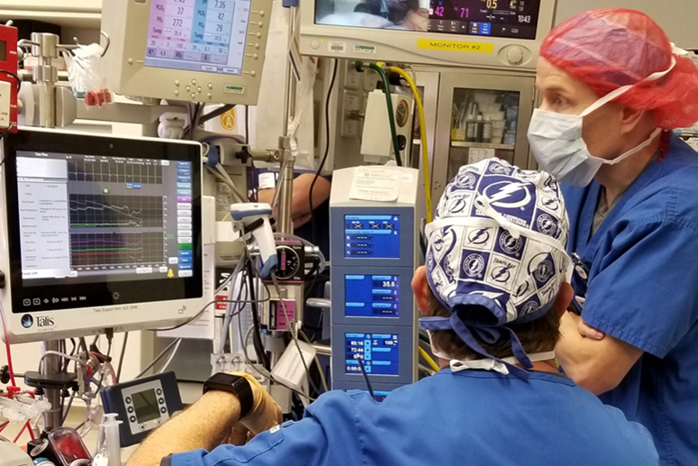 Talis ACG-Anesthesia on a monitor screen in OR.